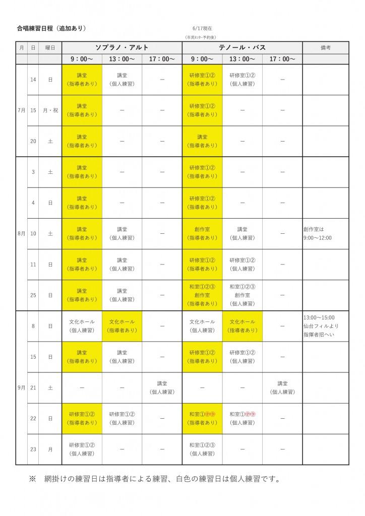 大いなる秋田練習日程(追加あり)R1.6.17